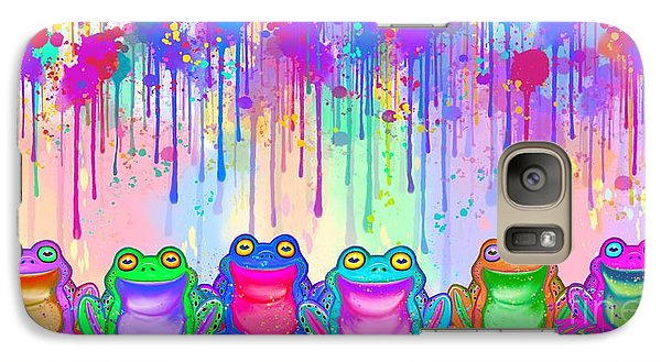 Galaxy Case featuring the painting Rainbow Of Painted Frogs by Nick Gustafson