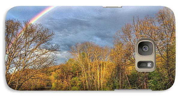 Galaxy Case featuring the photograph Rainbow Over The River by Debra and Dave Vanderlaan