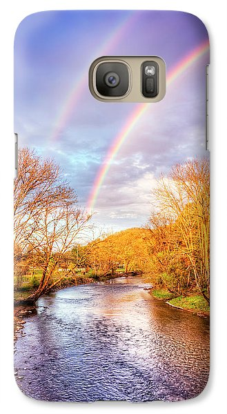 Galaxy Case featuring the photograph Rainbow Over The River II by Debra and Dave Vanderlaan