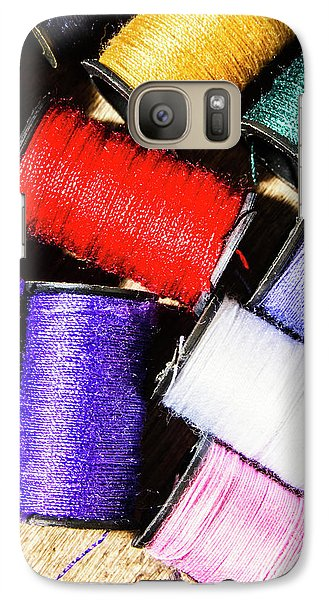 Galaxy S7 Case featuring the photograph Rainbow Threads Sewing Equipment by Jorgo Photography - Wall Art Gallery