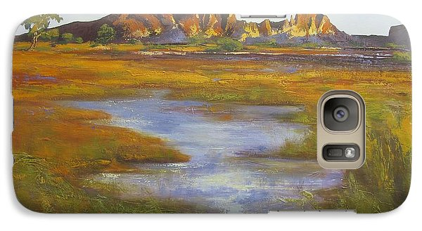 Galaxy Case featuring the painting Rainbow Valley Northern Territory Australia by Chris Hobel