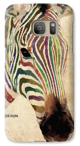 Galaxy Case featuring the painting Rainbow Zebra by Greg Collins