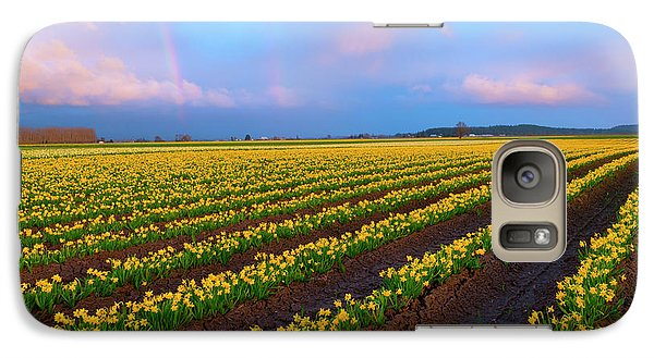 Galaxy Case featuring the photograph Rainbows, Daffodils And Sunset by Mike Dawson