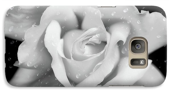 Galaxy Case featuring the photograph Raindrops On Rose Black And White by Jennie Marie Schell