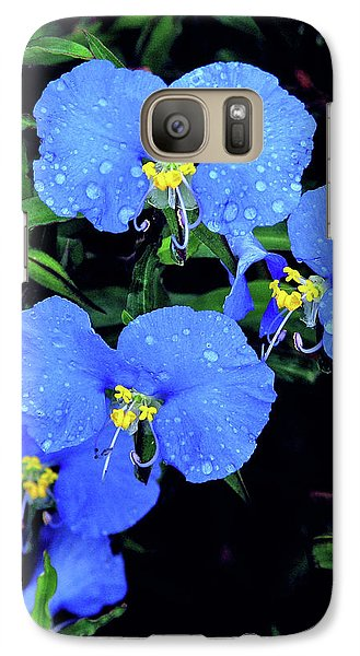 Galaxy Case featuring the photograph Raindrops In Blue by Peg Urban