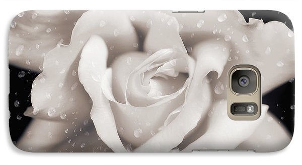 Galaxy Case featuring the photograph Raindrops On Sepia Rose Flower by Jennie Marie Schell