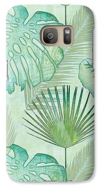 Rainforest Tropical - Elephant Ear And Fan Palm Leaves Repeat Pattern Galaxy S7 Case