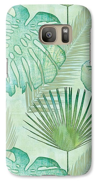 Beach Galaxy S7 Case - Rainforest Tropical - Elephant Ear And Fan Palm Leaves Repeat Pattern by Audrey Jeanne Roberts
