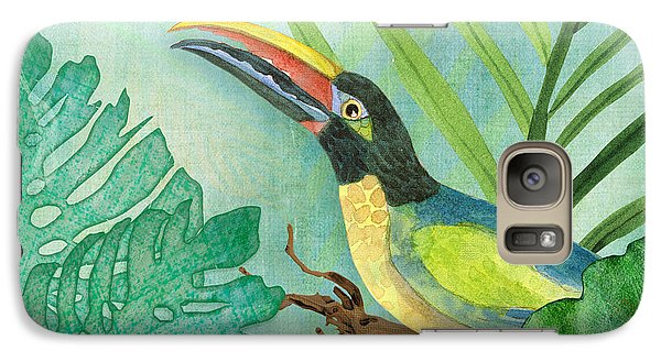 Toucan Galaxy S7 Case - Rainforest Tropical - Jungle Toucan W Philodendron Elephant Ear And Palm Leaves 2 by Audrey Jeanne Roberts
