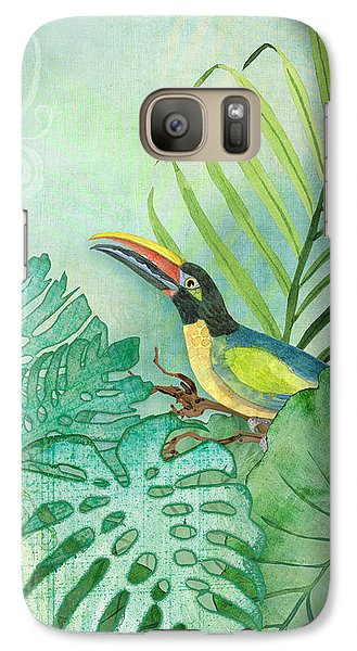 Rainforest Tropical - Tropical Toucan W Philodendron Elephant Ear And Palm Leaves Galaxy Case by Audrey Jeanne Roberts