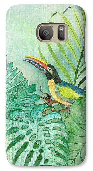 Toucan Galaxy S7 Case - Rainforest Tropical - Tropical Toucan W Philodendron Elephant Ear And Palm Leaves by Audrey Jeanne Roberts