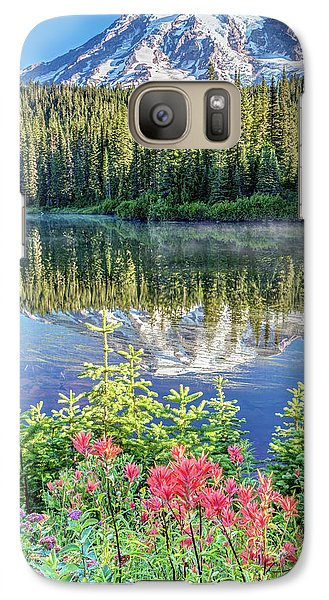 Galaxy Case featuring the photograph Rainier Wildflowers At Reflection Lake by Pierre Leclerc Photography