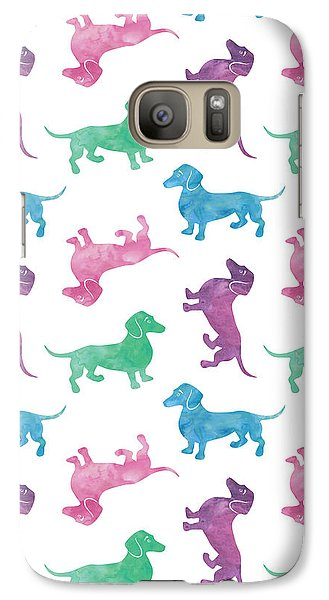Raining Dachshunds Galaxy Case by Antique Images