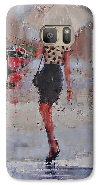 Galaxy Case featuring the painting Rainy Day Blues by Laura Lee Zanghetti