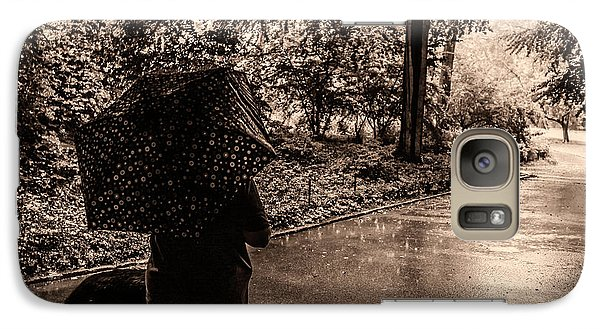 Galaxy Case featuring the photograph Rainy Day - Woman And Dog by Madeline Ellis