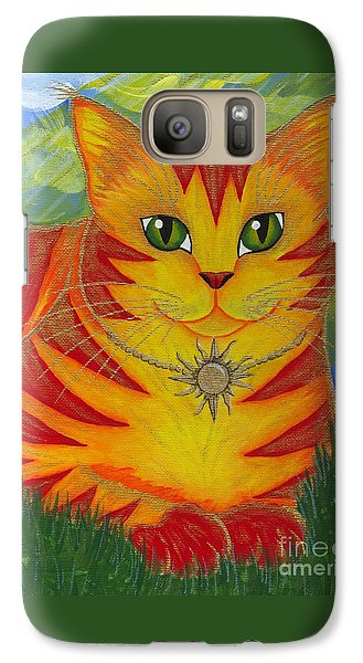 Galaxy Case featuring the painting Rajah Golden Sun Cat by Carrie Hawks