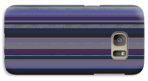 Galaxy Case featuring the digital art Random Stripes - Grayed Blues And Purple by Val Arie