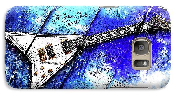 Randy's Guitar On Blue II Galaxy Case by Gary Bodnar