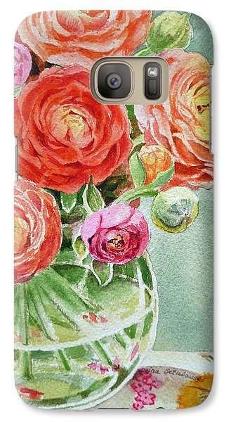 Rose Galaxy S7 Case - Ranunculus In The Glass Vase by Irina Sztukowski