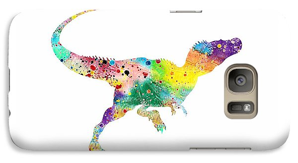 Raptor 2 Dinosaur Watercolor Galaxy Case by Svetla Tancheva