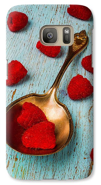 Raspberries With Antique Spoon Galaxy S7 Case by Garry Gay