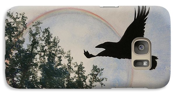 Galaxy Case featuring the painting Raven Holds The Sun by Stanza Widen