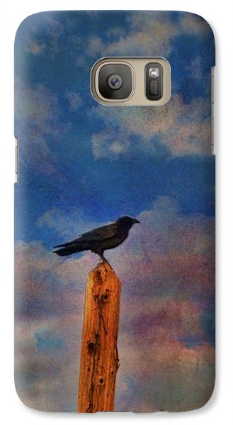 Galaxy Case featuring the photograph Raven Pole by Jan Amiss Photography