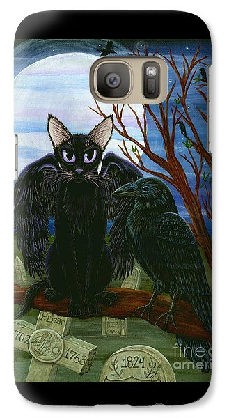 Galaxy Case featuring the painting Raven's Moon Black Cat Crow by Carrie Hawks