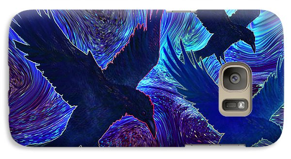 Galaxy Case featuring the painting Ravens On Blue by Teresa Ascone
