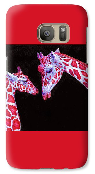 Galaxy Case featuring the digital art Read And Black Giraffes by Jane Schnetlage
