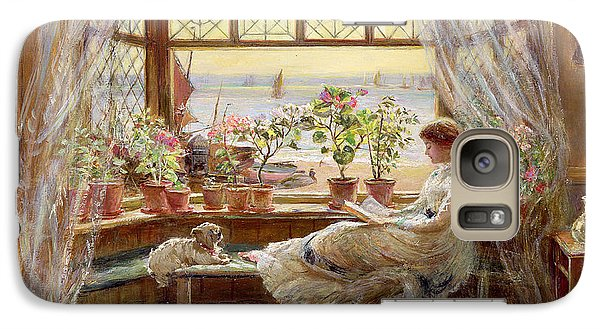Reading By The Window Galaxy Case by Charles James Lewis