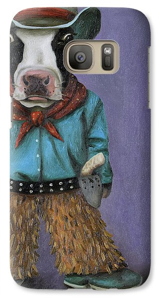Galaxy Case featuring the painting Real Cowboy by Leah Saulnier The Painting Maniac