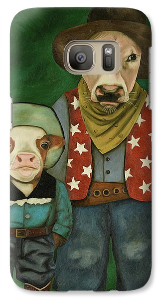 Galaxy Case featuring the painting Real Cowboys 3 by Leah Saulnier The Painting Maniac