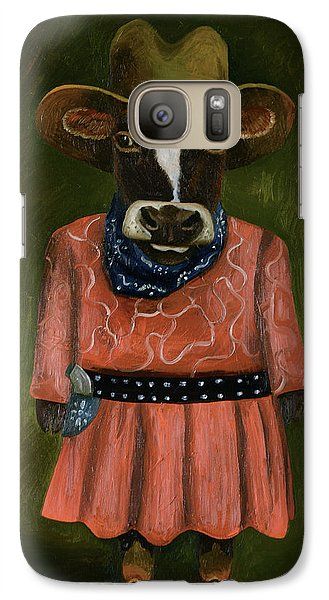 Galaxy Case featuring the painting Real Cowgirl by Leah Saulnier The Painting Maniac