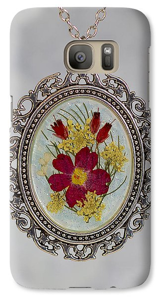 Real Pressed Verbena And Heather Blossoms Galaxy S7 Case