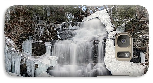 Galaxy Case featuring the photograph Receding Winter Ice At Ganoga Falls by Gene Walls