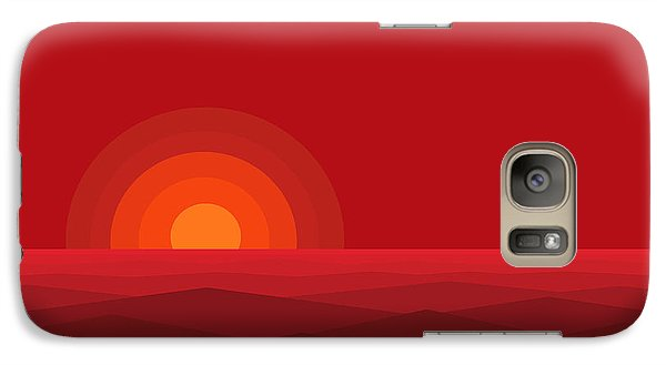 Galaxy Case featuring the digital art Red Abstract Sunset II by Val Arie