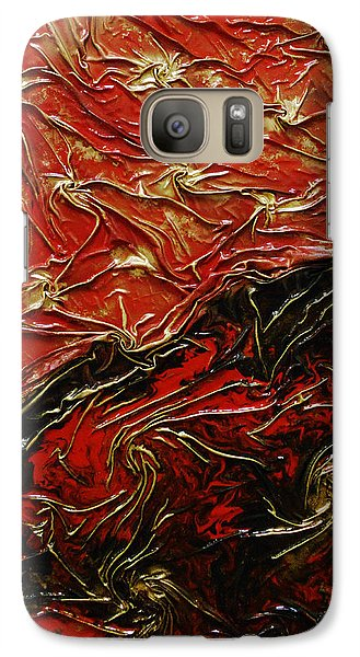 Galaxy Case featuring the mixed media Red And Black by Angela Stout