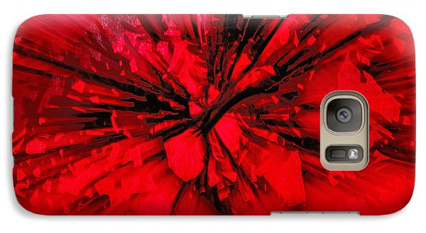 Galaxy Case featuring the photograph Red And Black Explosion by Susan Capuano