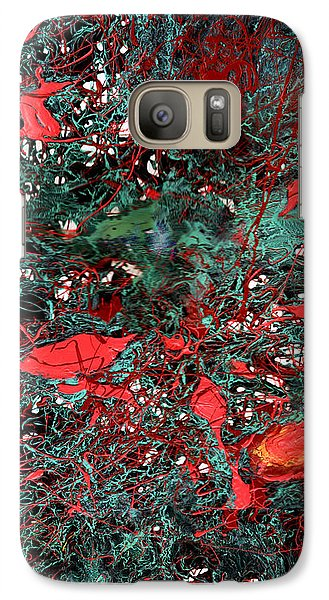 Galaxy Case featuring the painting Red And Black Turquoise Drip Abstract by Genevieve Esson