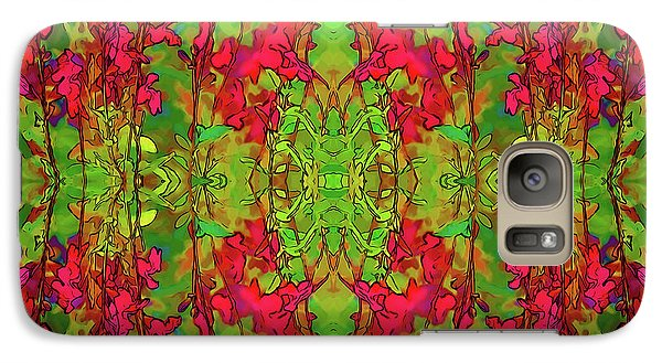 Galaxy Case featuring the digital art Red And Green Floral Abstract by Linda Phelps