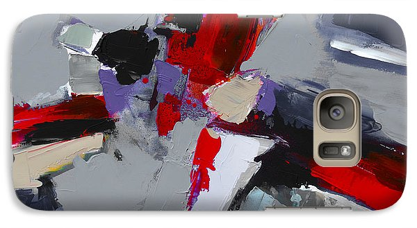 Galaxy Case featuring the painting Red And Grey Abstract By Elise Palmigiani by Elise Palmigiani
