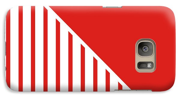 Red And White Triangles Galaxy Case by Linda Woods