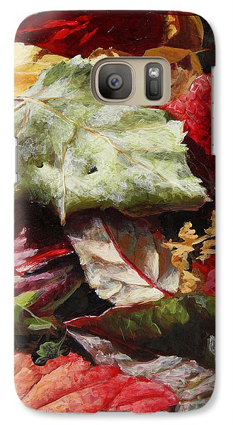 Galaxy Case featuring the painting Red Autumn - Wasilla Leaves by Karen Whitworth