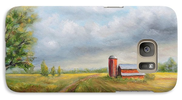 Galaxy Case featuring the painting Red Barn In Spring by  Luczay