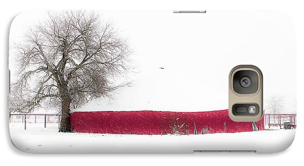 Galaxy Case featuring the photograph Red Barn In Winter by Tamyra Ayles