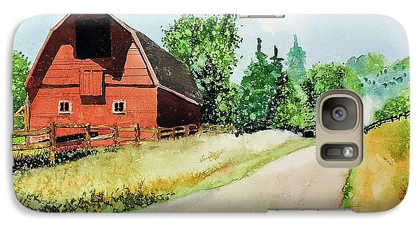 Galaxy Case featuring the painting Red Barn Near Steamboat Springs by Tom Riggs