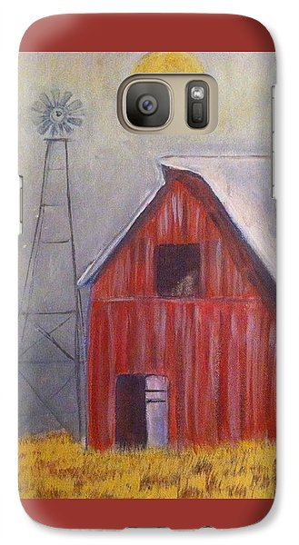 Galaxy Case featuring the painting Red Barn With Windmill by Belinda Lawson