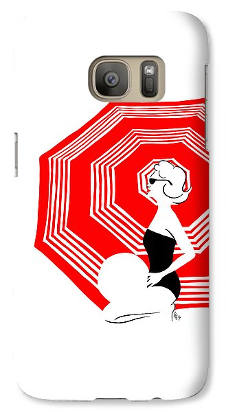 Galaxy Case featuring the digital art Red Beach Umbrella by Cindy Garber Iverson