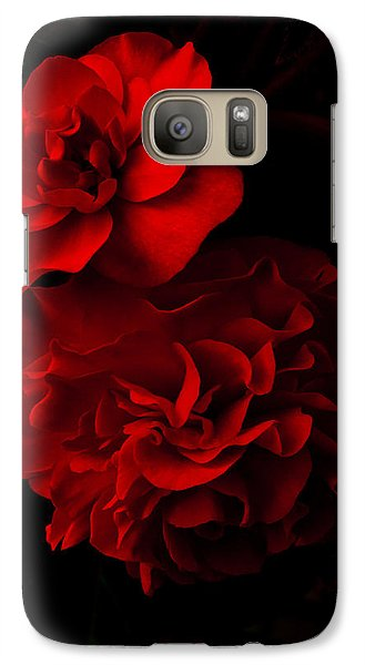 Galaxy Case featuring the pyrography Red Begonia by Lynn Hughes